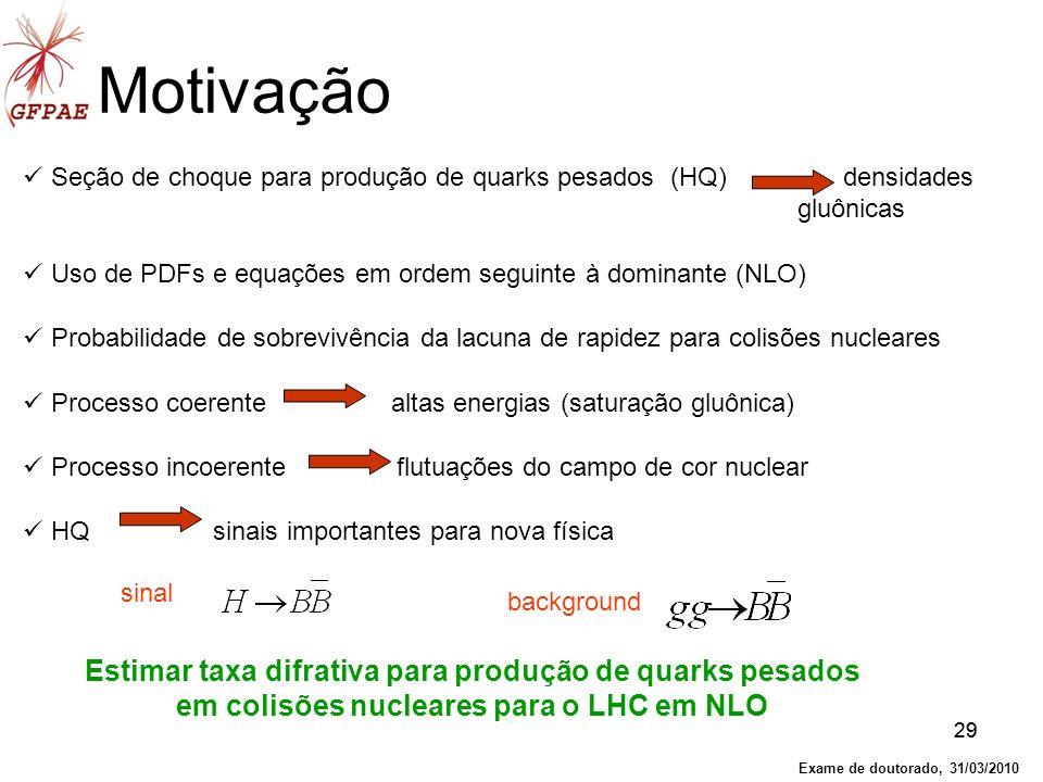 Motivação Seção de choque para produção de quarks pesados (HQ) densidades. gluônicas.