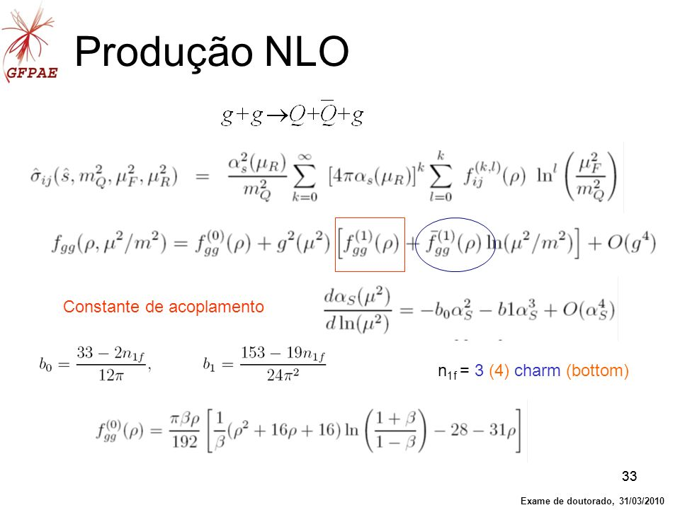 Produção NLO Constante de acoplamento n1f = 3 (4) charm (bottom) 33