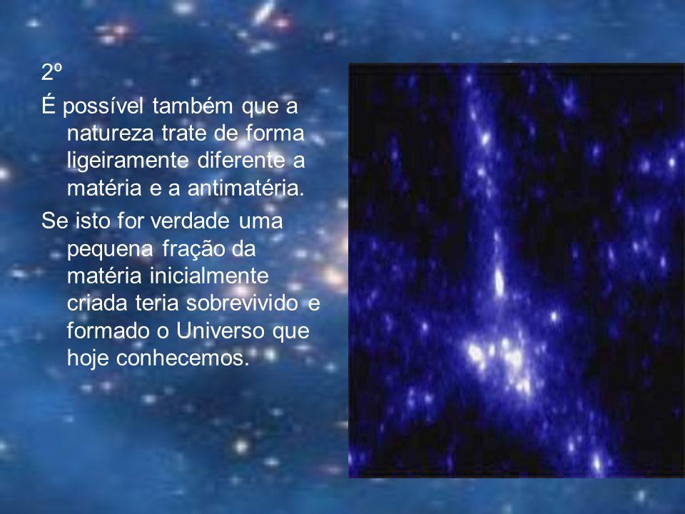 2ºÉ possível também que a natureza trate de forma ligeiramente diferente a matéria e a antimatéria.