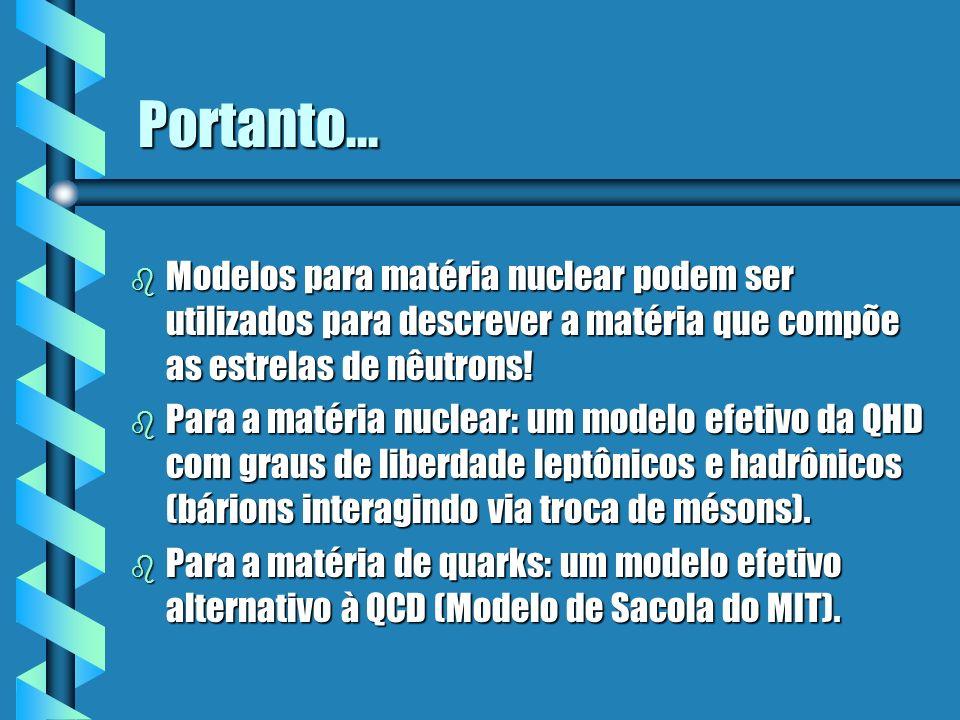 Portanto... Modelos para matéria nuclear podem ser utilizados para descrever a matéria que compõe as estrelas de nêutrons!