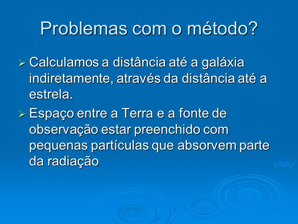 Problemas com o método Calculamos a distância até a galáxia indiretamente, através da distância até a estrela.