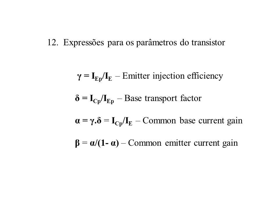 12. Expressões para os parâmetros do transistor