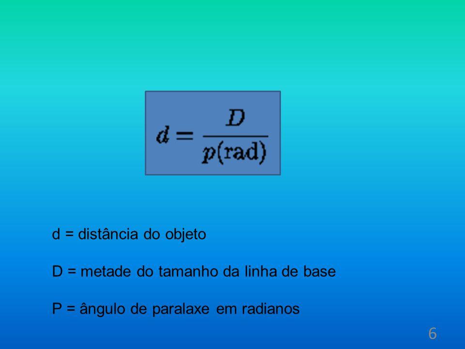 d = distância do objeto D = metade do tamanho da linha de base P = ângulo de paralaxe em radianos