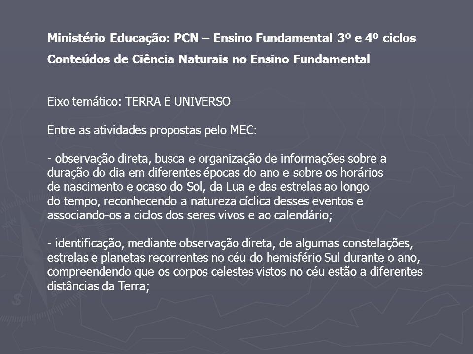 Ministério Educação: PCN – Ensino Fundamental 3º e 4º ciclos