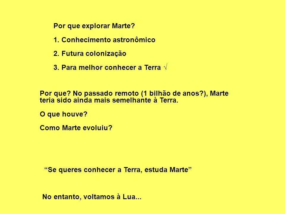 Por que explorar Marte 1. Conhecimento astronômico. 2. Futura colonização. 3. Para melhor conhecer a Terra √