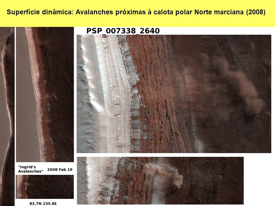 Superfície dinâmica: Avalanches próximas à calota polar Norte marciana (2008)