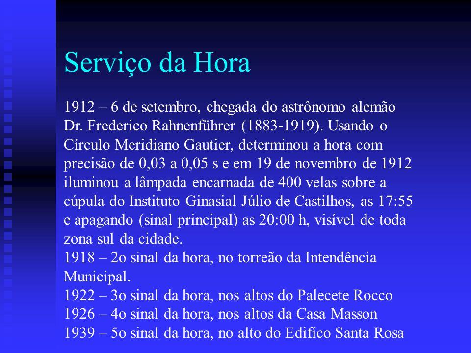 Serviço da Hora 1912 – 6 de setembro, chegada do astrônomo alemão
