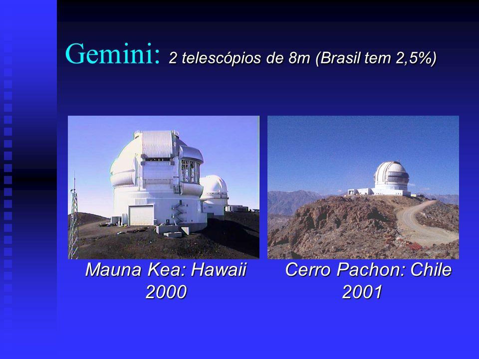 Gemini: 2 telescópios de 8m (Brasil tem 2,5%)