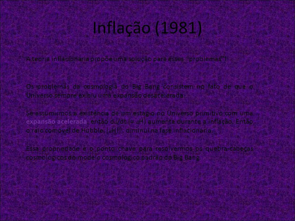 Inflação (1981)A teoria inflacionária propõe uma solução para esses problemas !