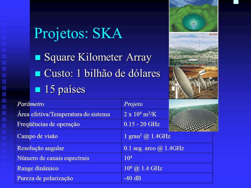 Projetos: SKA Square Kilometer Array Custo: 1 bilhão de dólares
