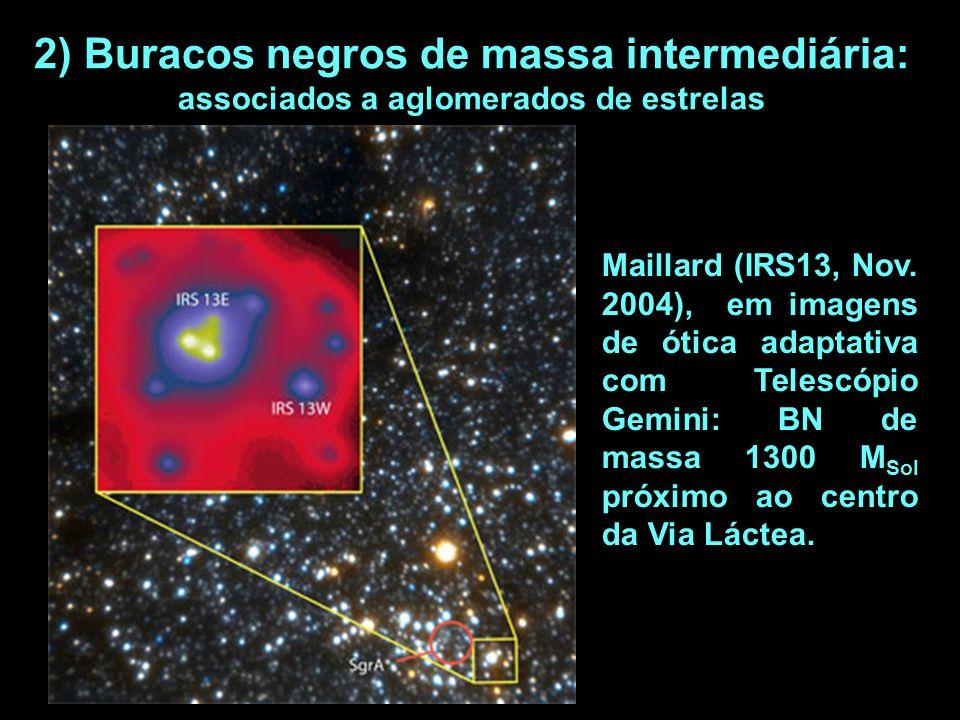 2) Buracos negros de massa intermediária: associados a aglomerados de estrelas