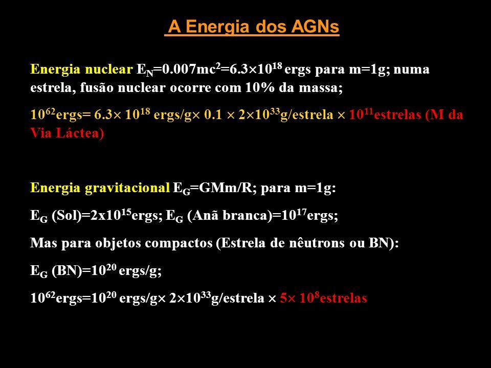 A Energia dos AGNs Energia nuclear EN=0.007mc2=6.31018 ergs para m=1g; numa estrela, fusão nuclear ocorre com 10% da massa;