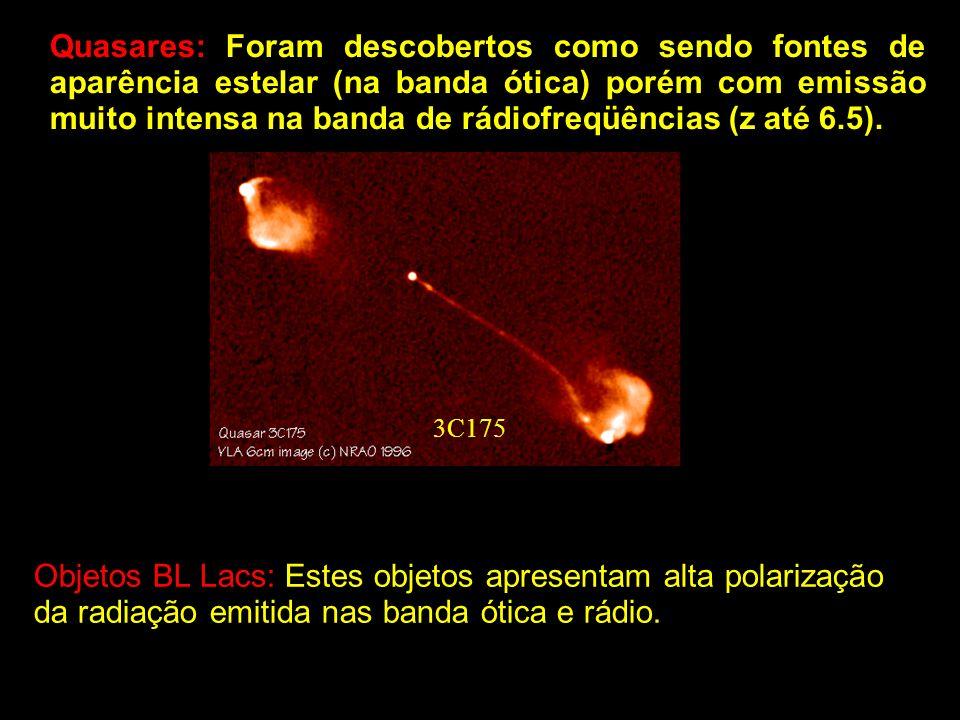 Quasares: Foram descobertos como sendo fontes de aparência estelar (na banda ótica) porém com emissão muito intensa na banda de rádiofreqüências (z até 6.5).