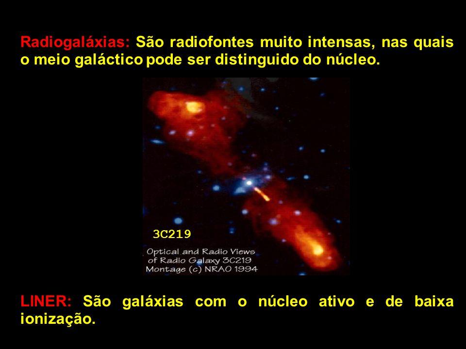 LINER: São galáxias com o núcleo ativo e de baixa ionização.