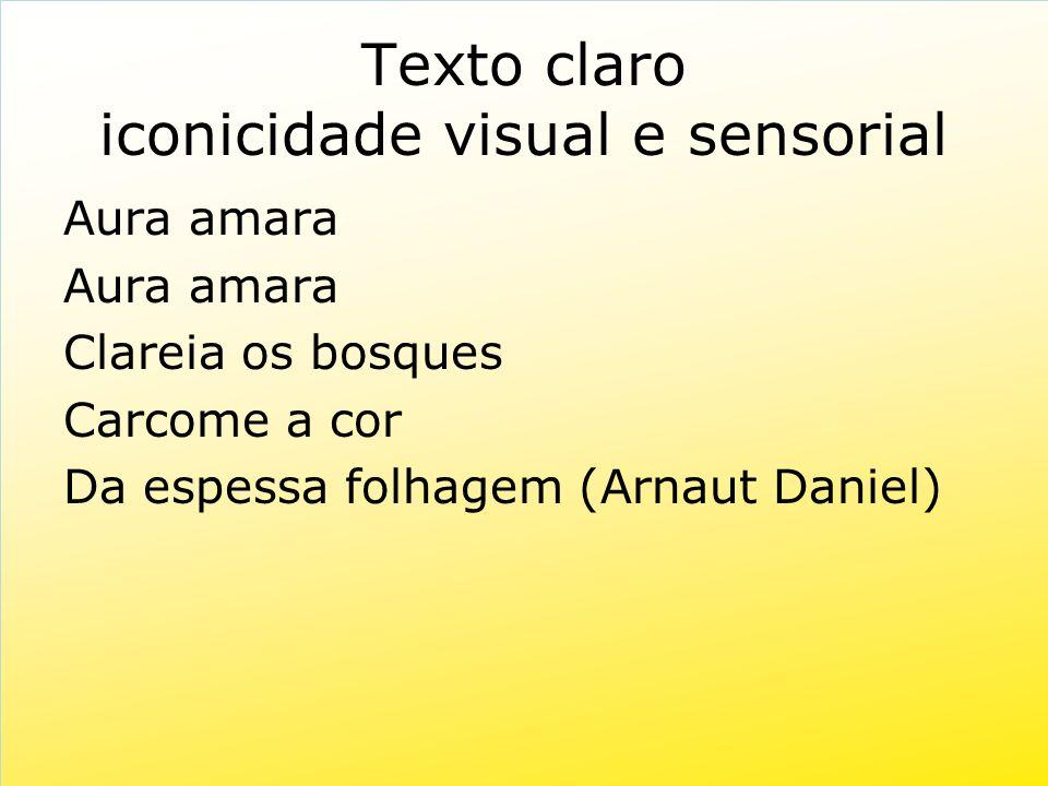 Texto claro iconicidade visual e sensorial