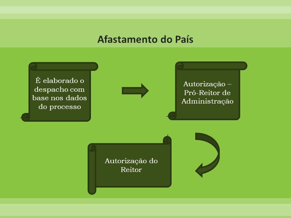 Afastamento do País É elaborado o despacho com base nos dados do processo. Autorização – Pró-Reitor de Administração.