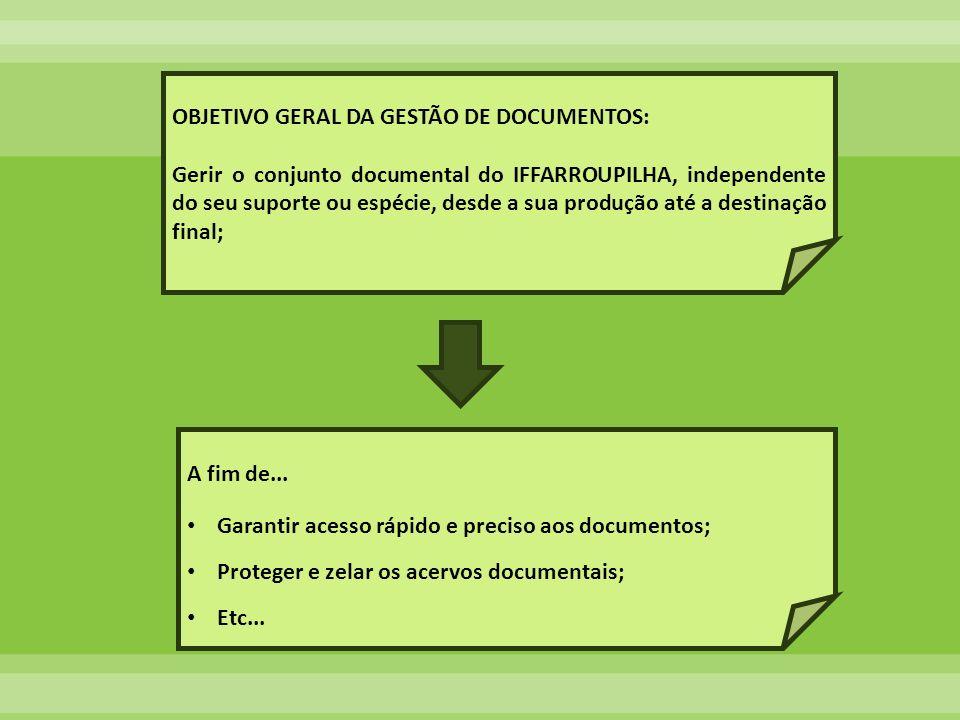 OBJETIVO GERAL DA GESTÃO DE DOCUMENTOS: