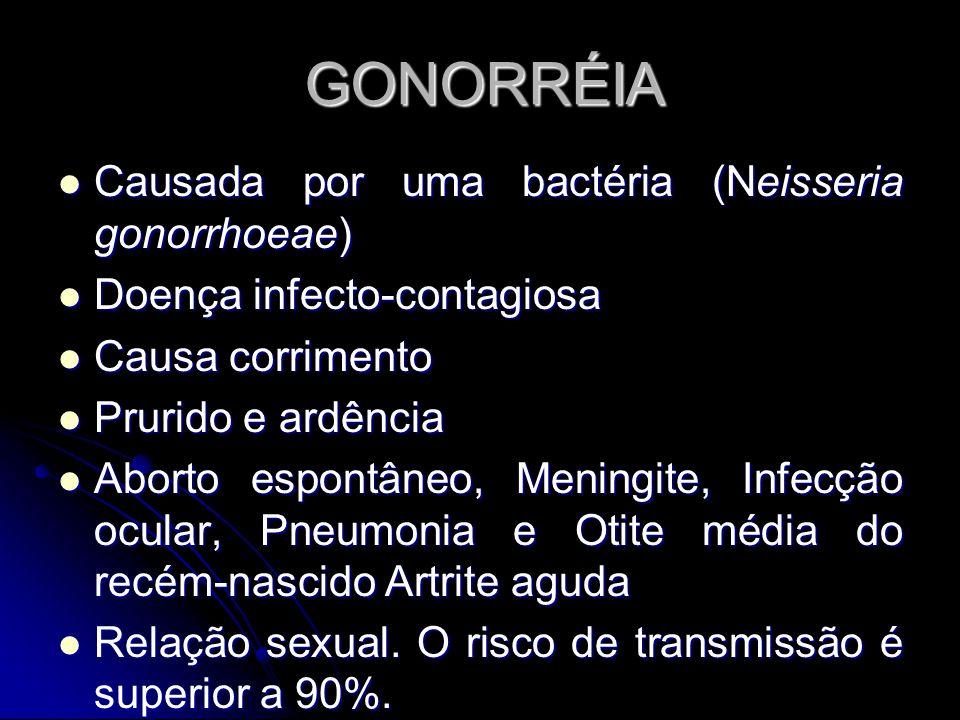 GONORRÉIA Causada por uma bactéria (Neisseria gonorrhoeae)
