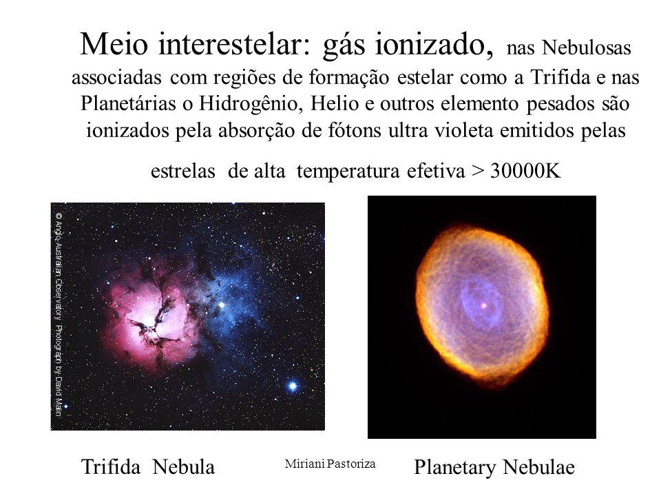 Meio interestelar: gás ionizado, nas Nebulosas associadas com regiões de formação estelar como a Trifida e nas Planetárias o Hidrogênio, Helio e outros elemento pesados são ionizados pela absorção de fótons ultra violeta emitidos pelas estrelas de alta temperatura efetiva > 30000K