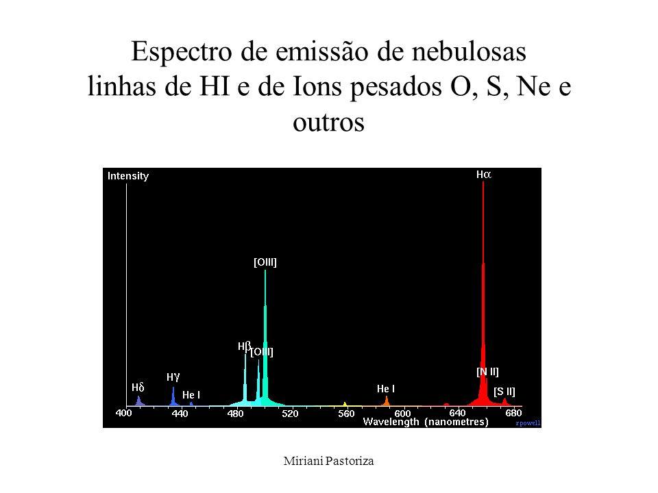 Espectro de emissão de nebulosas linhas de HI e de Ions pesados O, S, Ne e outros