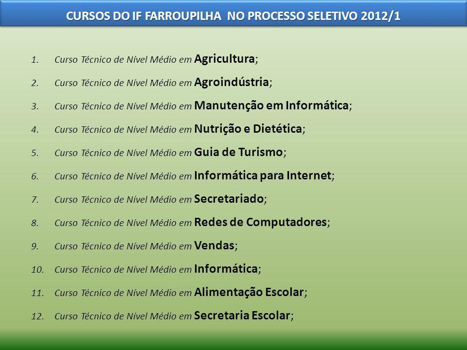 CURSOS DO IF FARROUPILHA NO PROCESSO SELETIVO 2012/1