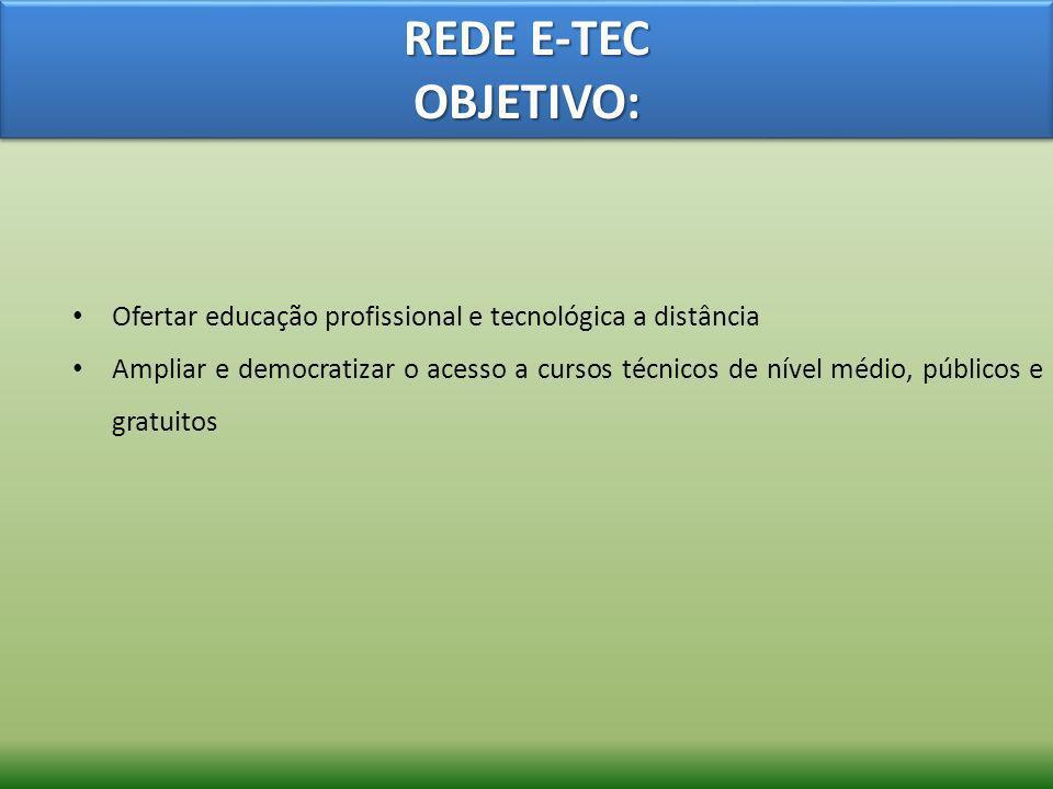 REDE E-TEC OBJETIVO:Ofertar educação profissional e tecnológica a distância.