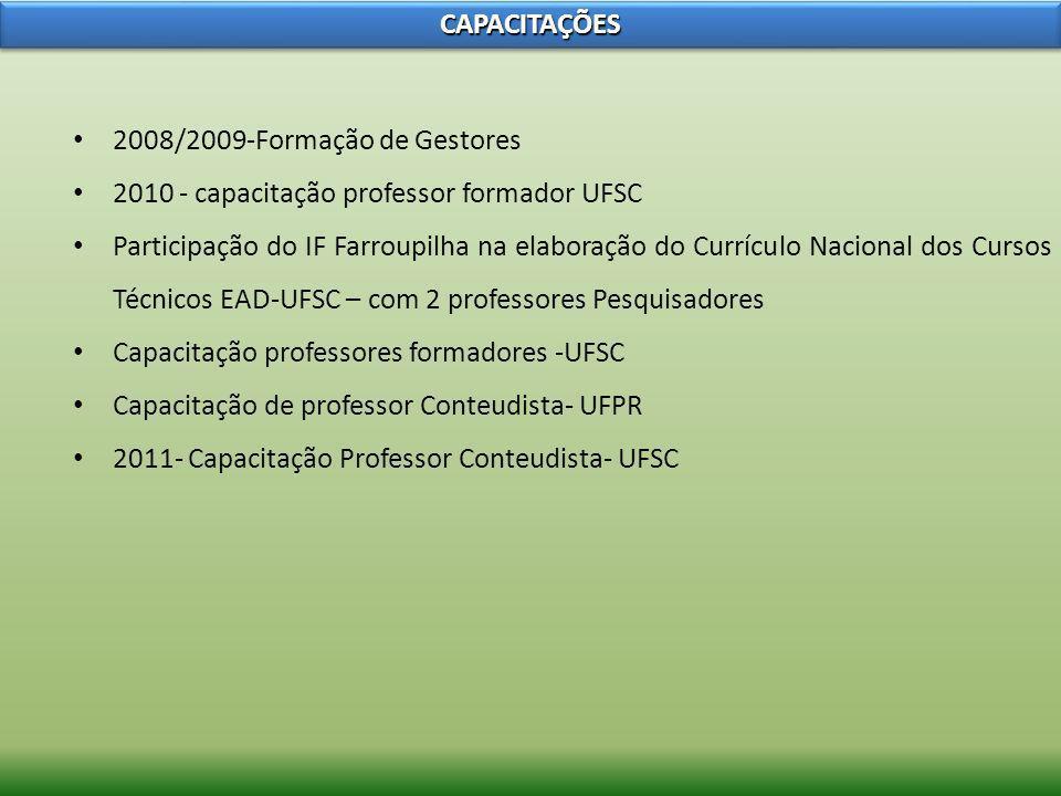 CAPACITAÇÕES2008/2009-Formação de Gestores. 2010 - capacitação professor formador UFSC.