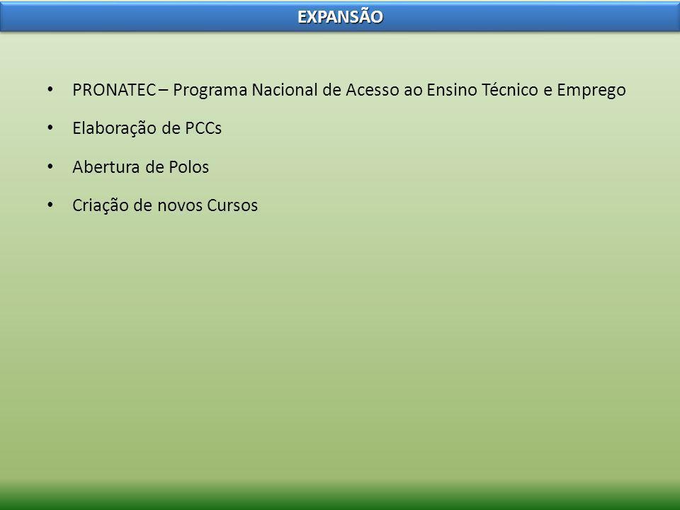 EXPANSÃOPRONATEC – Programa Nacional de Acesso ao Ensino Técnico e Emprego. Elaboração de PCCs. Abertura de Polos.