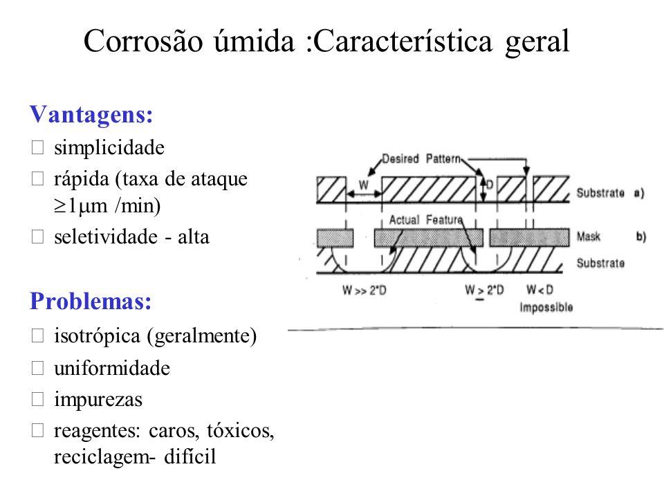 Corrosão úmida :Característica geral