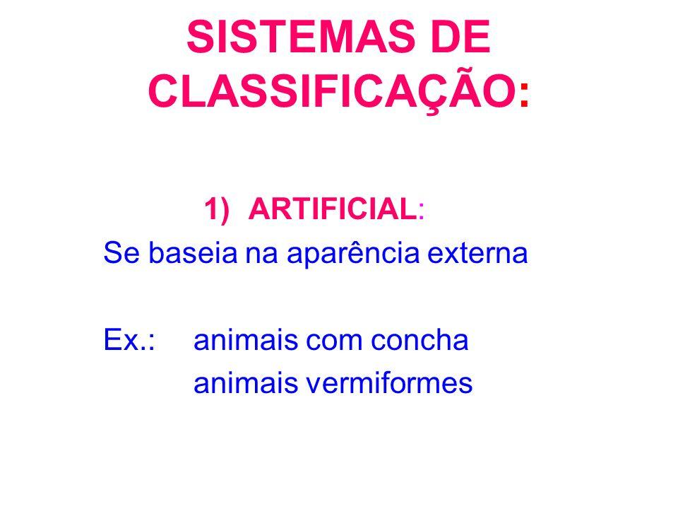 SISTEMAS DE CLASSIFICAÇÃO:
