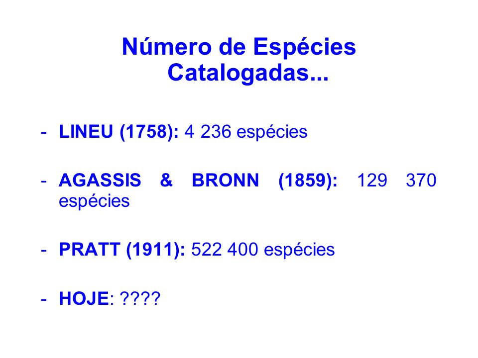Número de Espécies Catalogadas...
