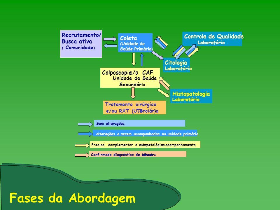 Fases da Abordagem Recrutamento/ Busca ativa Coleta Citologia