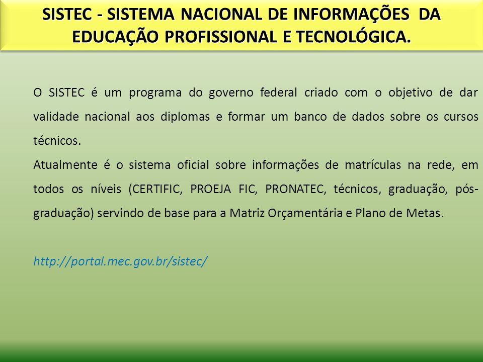 SISTEC - SISTEMA NACIONAL DE INFORMAÇÕES DA EDUCAÇÃO PROFISSIONAL E TECNOLÓGICA.