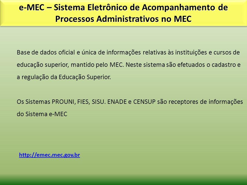 e-MEC – Sistema Eletrônico de Acompanhamento de Processos Administrativos no MEC