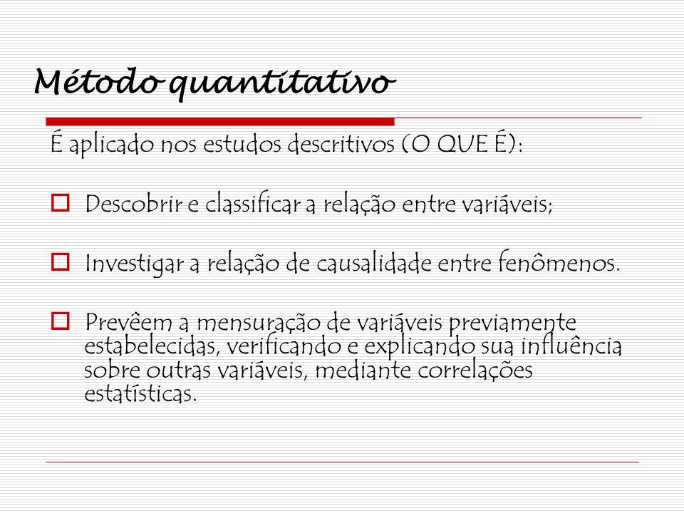 Método quantitativo É aplicado nos estudos descritivos (O QUE É):