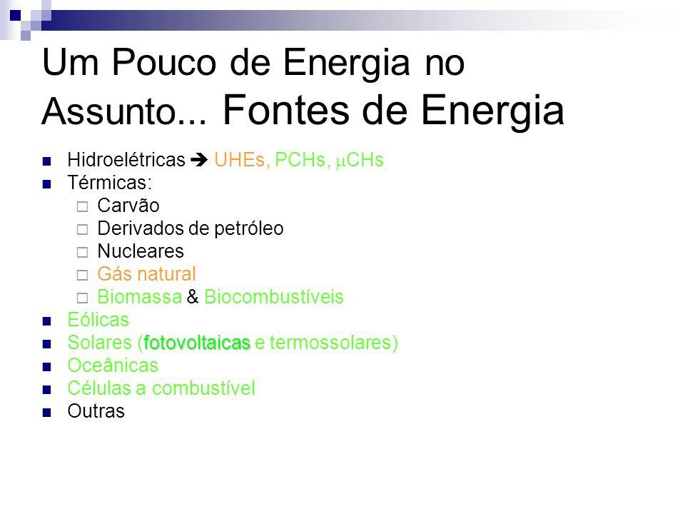 Um Pouco de Energia no Assunto... Fontes de Energia