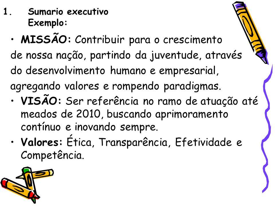 Sumario executivo Exemplo:
