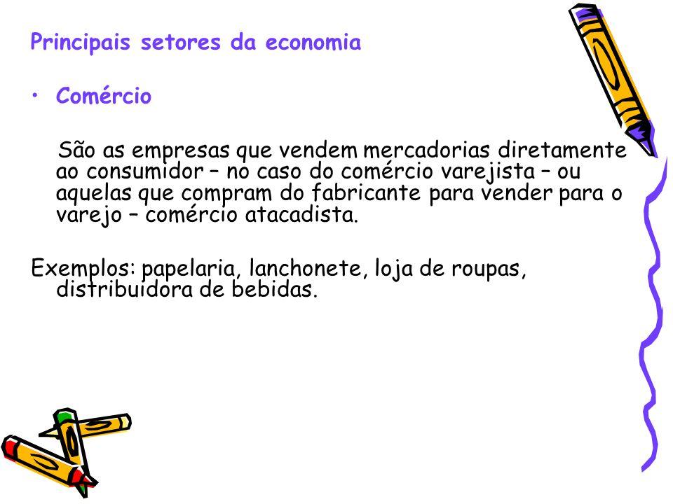 Principais setores da economia