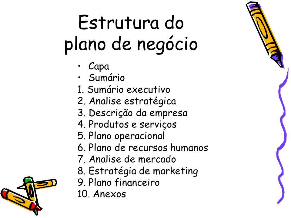 Estrutura do plano de negócio