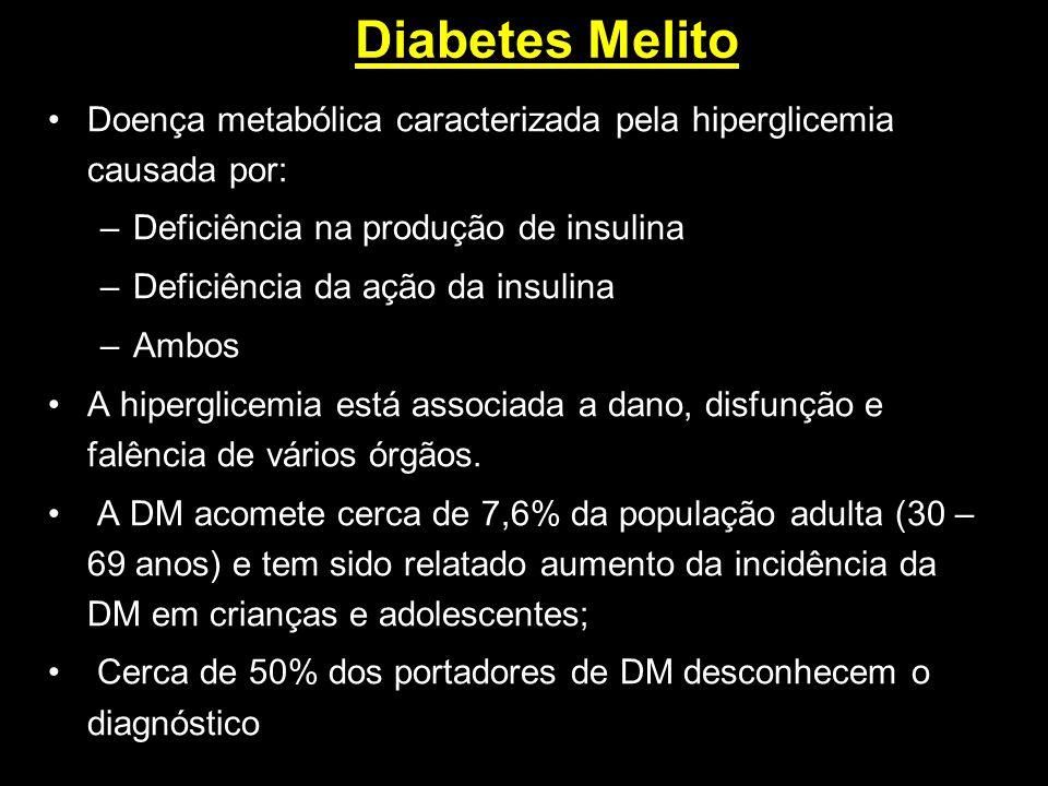 Diabetes Melito Doença metabólica caracterizada pela hiperglicemia causada por: Deficiência na produção de insulina.