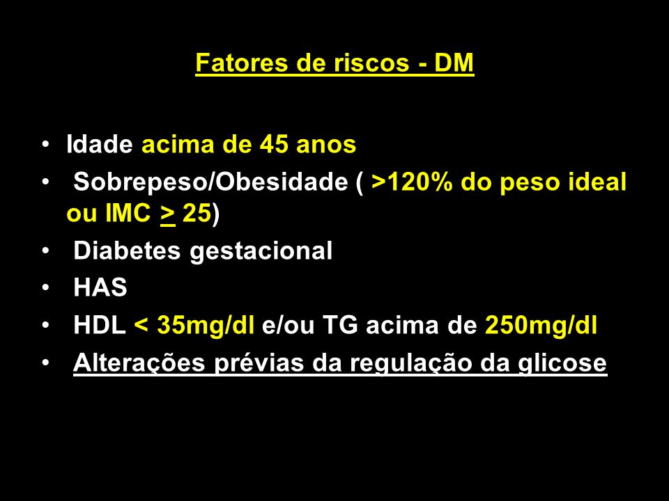 Sobrepeso/Obesidade ( >120% do peso ideal ou IMC > 25)