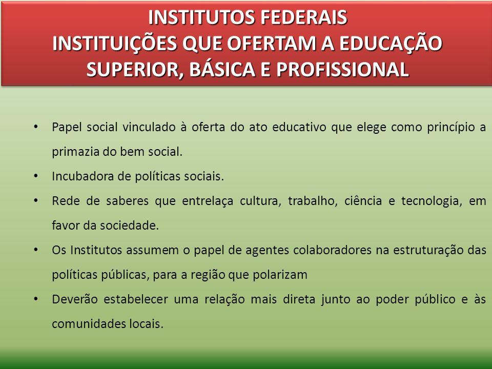 INSTITUTOS FEDERAIS INSTITUIÇÕES QUE OFERTAM A EDUCAÇÃO SUPERIOR, BÁSICA E PROFISSIONAL