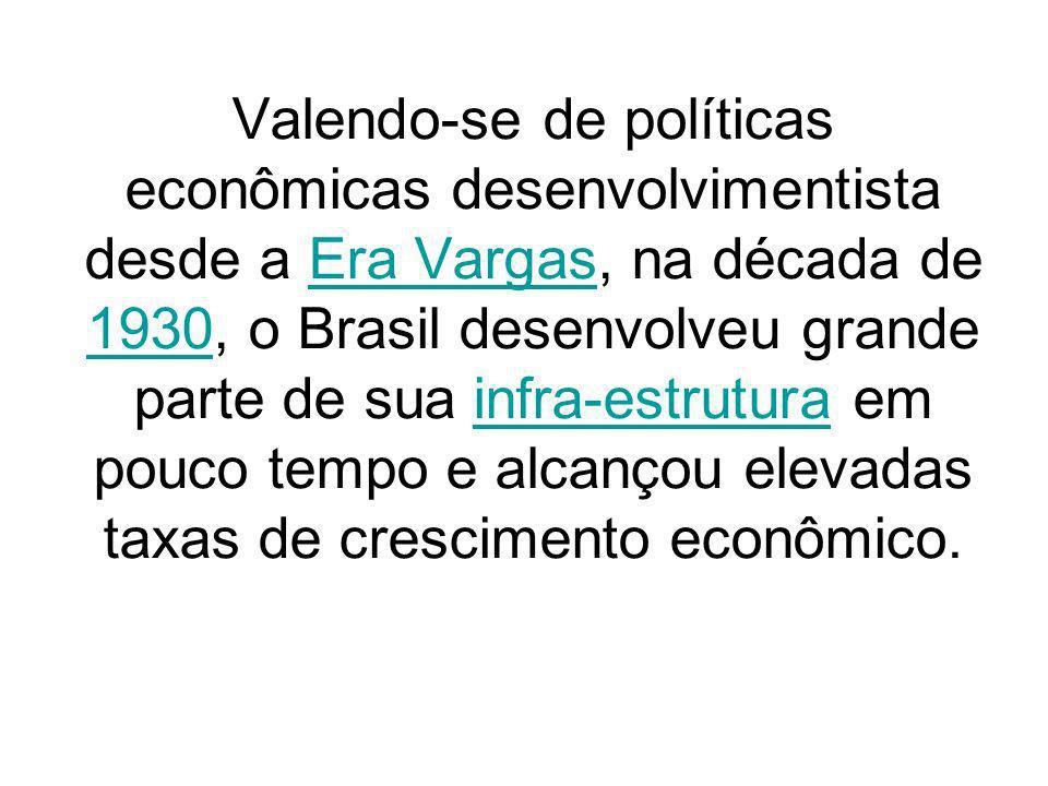 Valendo-se de políticas econômicas desenvolvimentista desde a Era Vargas, na década de 1930, o Brasil desenvolveu grande parte de sua infra-estrutura em pouco tempo e alcançou elevadas taxas de crescimento econômico.