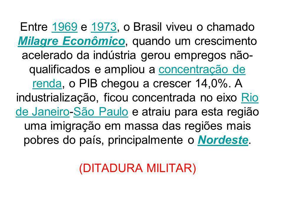 Entre 1969 e 1973, o Brasil viveu o chamado Milagre Econômico, quando um crescimento acelerado da indústria gerou empregos não-qualificados e ampliou a concentração de renda, o PIB chegou a crescer 14,0%.
