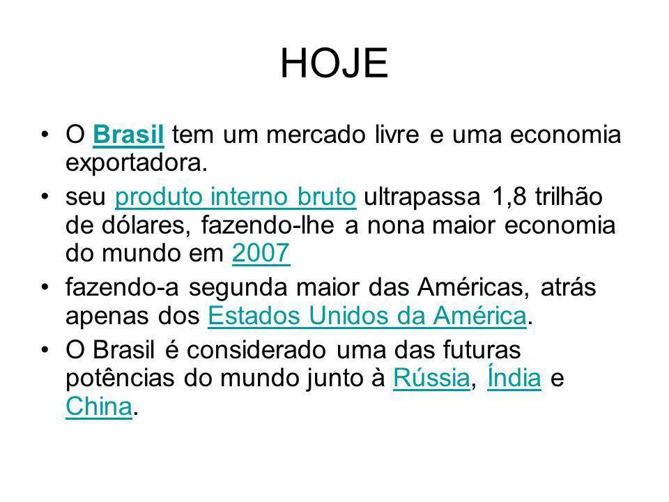 HOJE O Brasil tem um mercado livre e uma economia exportadora.