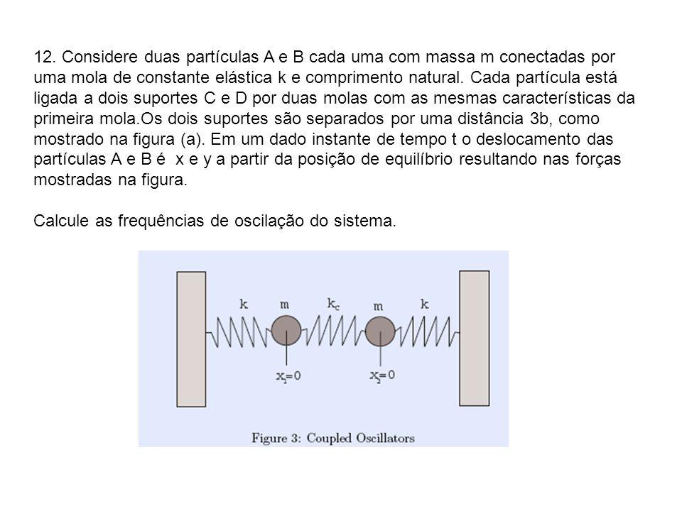 12. Considere duas partículas A e B cada uma com massa m conectadas por uma mola de constante elástica k e comprimento natural. Cada partícula está ligada a dois suportes C e D por duas molas com as mesmas características da primeira mola.Os dois suportes são separados por uma distância 3b, como mostrado na figura (a). Em um dado instante de tempo t o deslocamento das partículas A e B é x e y a partir da posição de equilíbrio resultando nas forças mostradas na figura.