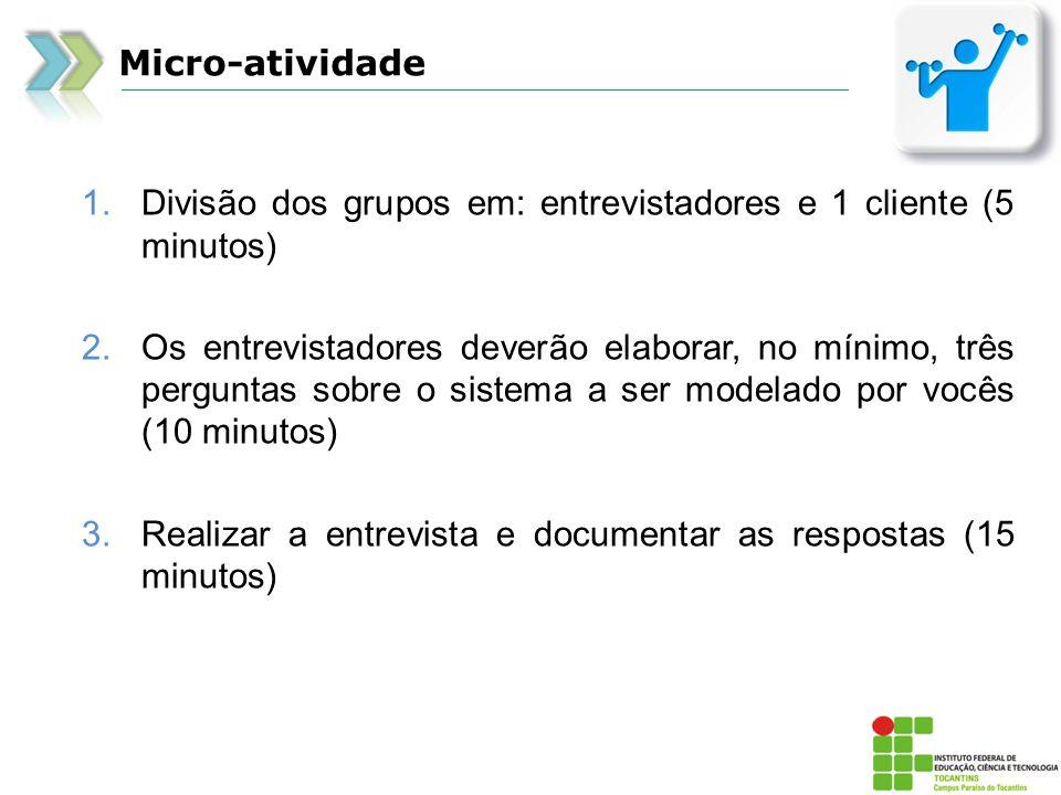 Micro-atividade Divisão dos grupos em: entrevistadores e 1 cliente (5 minutos)