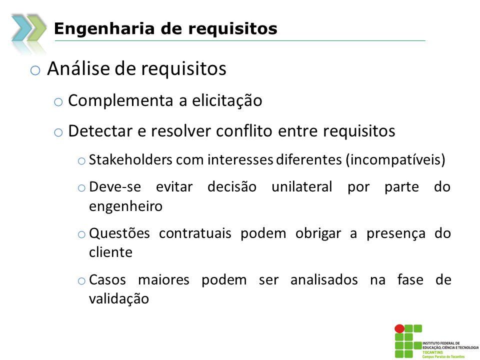 Análise de requisitos Complementa a elicitação