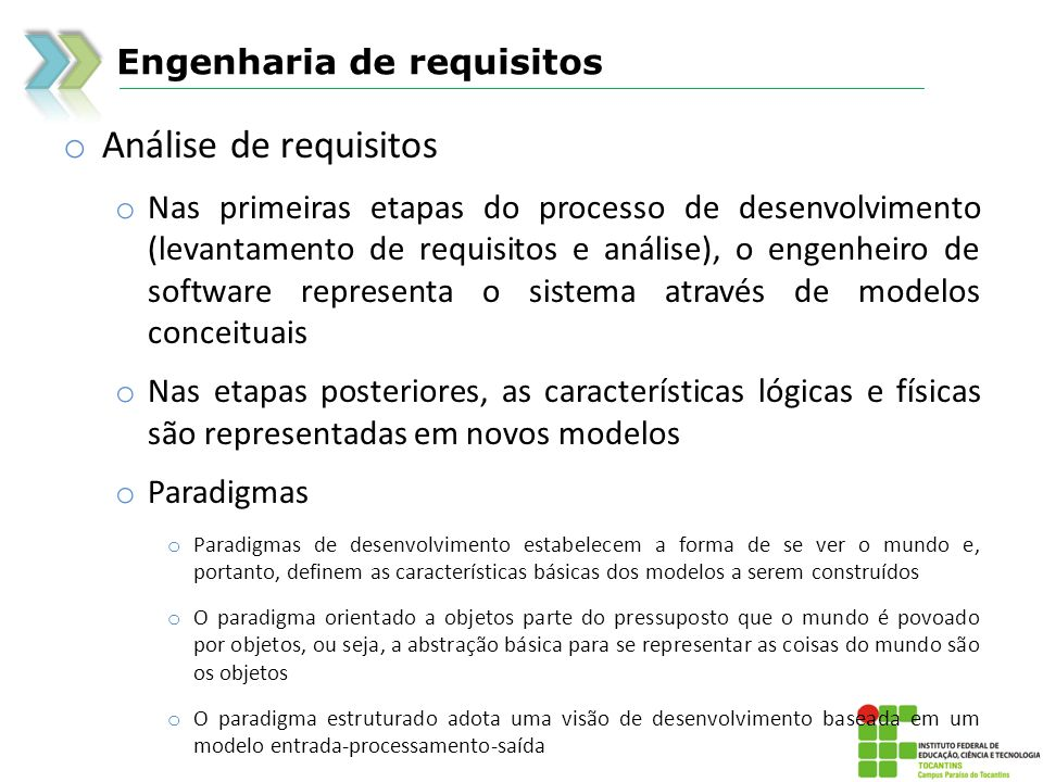 Análise de requisitos Engenharia de requisitos