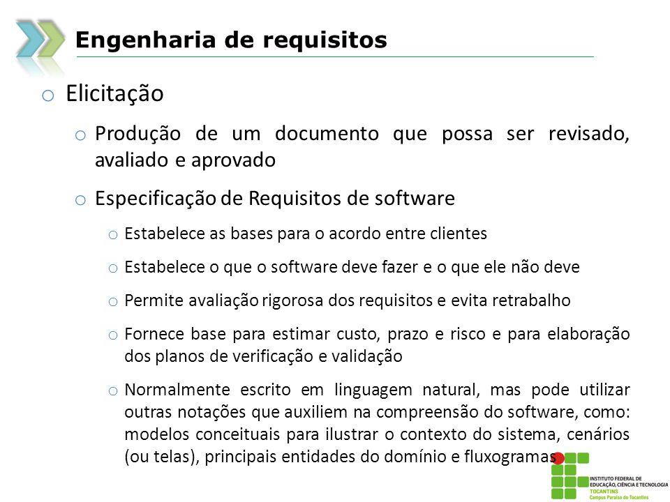 Elicitação Engenharia de requisitos
